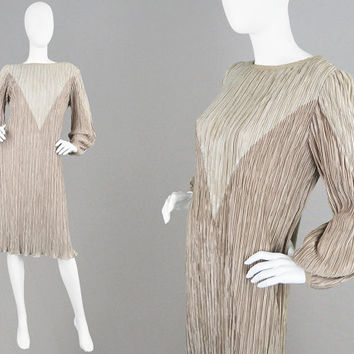 Vintage 80s Fortuny Pleat Dress Hal Ferman Micro Pleated Dress Balloon Sleeves Colorblock Dress Colour Blocking 1980s Cocktail Dress Grecian