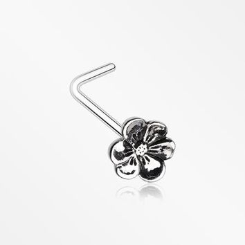 Anemone Flower L-Shaped Nose Ring