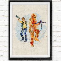 Han Solo and Chewbacca Watercolor Poster Print, Star Wars Watercolor Print, Boys Room Wall Art, Home Decor, Not Framed, Buy 2 Get 1 Free!