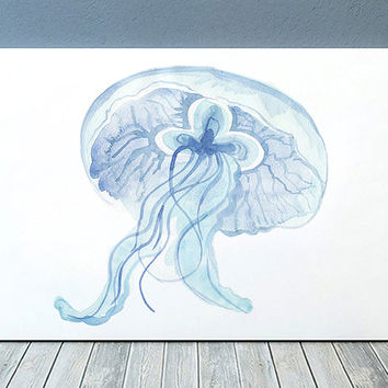 Beach house print Jellyfish art Nautical poster Watercolor print ACW791