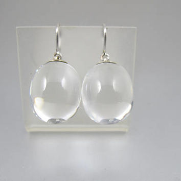 Rock Quartz Crystal Earrings. Sterling Silver Pools Of Light Orb Drop Earrings. Designer SIgned