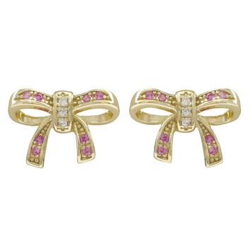 Pink CZ, Gold Plated Sterling Silver Bow Post Earrings