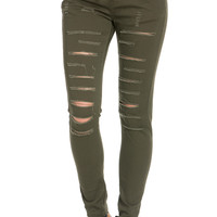 Distressed Skinny Olive Jogger Jeans