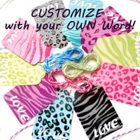 40 Custom Word Punched Gift Tags w/12ft of Twine - Zebra Print, Animal Print - Gift Tags, Bachelorette Tags, Birthday Tags, Personalized