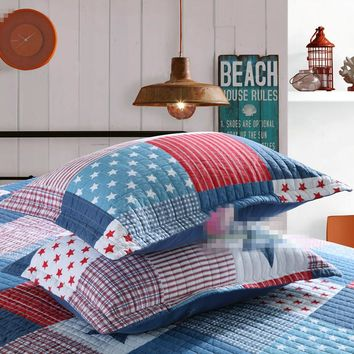 Home textile 3pcs grid patchwork quilt bedspread+pillowcase blue red star bed cover 100% cotton bedding