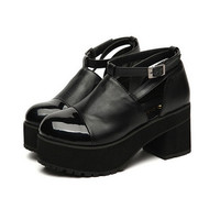 Black Platform Leather Creepers