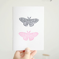 Moths Notebook * Two moths in love Journal * Insect Notebook * Travel Notebook  * Nature * Small Pocket Journal * Minimalist * Gift