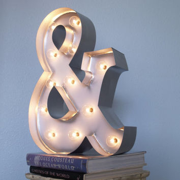"AMPERSAND with SILVER edging and Lights: ""&"" Ampersand, And Marquee Sign Carnival Letters Light Up Letter Lamp"