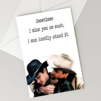 Instant download, LGBT  Brokeback mountain love card Valentines day I miss you it hurts Funny Love Card for Girlfriend, for boyfriend