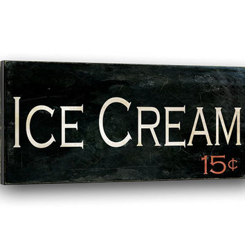 Ice Cream 5 cents, Canvas Wrap Sign, Typography Wall Art, Rustic Kitchen Dining Decor, 10x20""