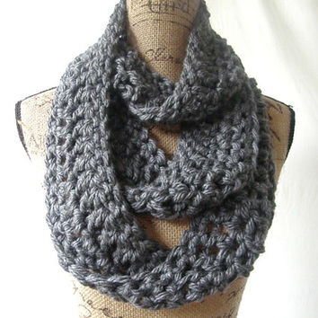 Ready To Ship Long Charcoal Grey Gray Chunky Scarf Fall Winter Women's Accessory Infinity 152