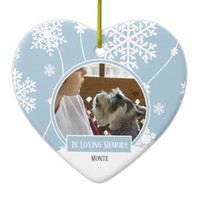 In Loving Memory Pet Photo Christmas Heart Ceramic Ornament