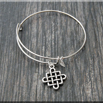 Silver Celtic Knot Charm Expandable Bangle Bracelet, Adjustable Bangle Bracelet, Stacking Charm Bracelet, Charm Bangle, Celtic Jewelry