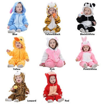 Adorable  Cartoon Animal Design Soft Warm Baby Jumpsuit [8833438796]
