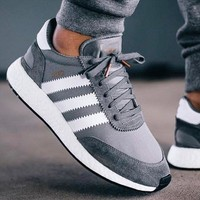 Adidas Iniki Runner Boost Grey/White Fashion Trending Running Sports Shoes Sneakers