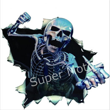 2017 Car Vinyl Skull Skeleton Stickers Truck Window Wrap Decals Motorcycle Helmet Funny Sticker Car Styling Human Skeleton Badge