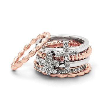 Sterling Silver & 14K Rose Gold Plated, Diamond Faith Stack Ring Set