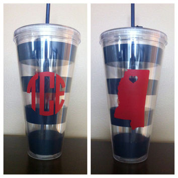 Giant Ole Miss Striped Cup - Monogrammed