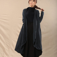 women cotton coat cotton sweater casual loose sweater plus size sweater  cotton loose blouse long sleeve blouse Round  neck sweater dress