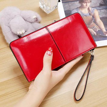 Candy Color Women Brand Oil Wax Leather Zipper Clutch Wallet Female Burglar Robbed Purse Lady Multi-function Phone Bag