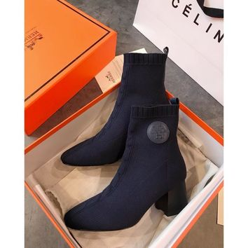 Hermes Volver 60 Ankle Boot In Knit Blue - Best Online Sale