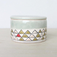 Ceramic Salt Cellar in Sage Green with Triangles - Made to Order