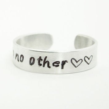 You and No Other ring - Adjustable aluminum ring - Relationship ring Promise ring - Hand-stamped silver-tone ring