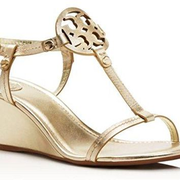 Tory Burch Miller Wedge Sandal Metallic Leather (Spark Gold, Size 7)
