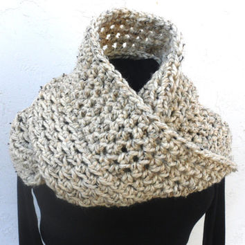 Crochet Wool Infinity Scarf Hood In Oatmeal Cream - Men or Women - by Tejidos on Etsy