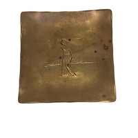 Hammered Bronze Mens Ring Dish Bronze with Golf Motif