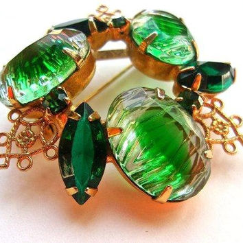 Reversed Carved Green Givre Glass Brooch, Emerald Rhinestones, Filigree, Gold Tone, Vintage