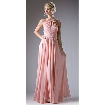 Halter Lace Top Long Formal Dress Keyhole Neckline and Back Blush