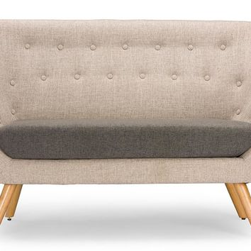 Baxton Studio  Astrid Mid-century Beige Fabric Loveseat Set of 1