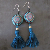 Teal Tassel Long Earrings, OOAK Tribal Traditional Ecofriendly Jewelry, Women Teens