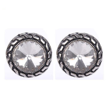 Crystal Clip Earrings For Women Fashion Clear Blue Pink Color Imitation Gemstone Silver Plated Clip On Earrings 2016 New Jewelry