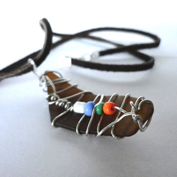 Sea Glass Necklace, Silver Wire Wrapped Pendant, Beach Glass Jewelry, Wire Wrapped Jewelry, Bottle Brown, Boho Jewelry