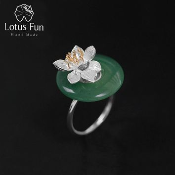 Lotus Fun Real 925 Sterling Silver Natural Green Pink Stone Creative Handmade Fine Jewelry Lotus Whispers Ring for Women Brincos