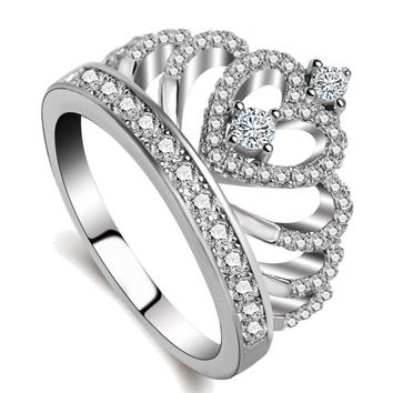 New fashion silver jewelry jewelry crown ring female