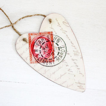 Tin Heart Love Letter Tag, Valentines Day Heart, French Amour