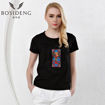 Summer women's clothing women T shirt black white Indian print O-neck short sleeve ethnic top