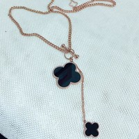 Cartier temperament classic single sided double four-leaf clover pendant necklace women long style sweater chain