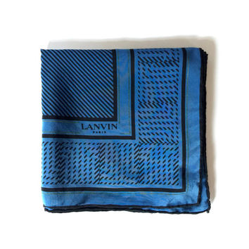 LANVIN!!! Vintage 1970s 'Lanvin' cobalt blue and black diagonal stripe printed silk scarf with graphic borders and logo