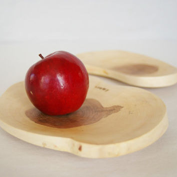 Wooden plate Set of 2, perfect wooden dish, serving plate, wood plate, food plate