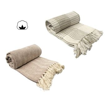 Cotton Knitted Throw Rug 120 x 150 + 10 cm
