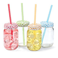 polka dot mason jars (set of 4)