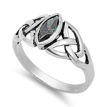 925 Sterling Silver CZ Wicca Triquetra Simulated Mystic Topaz Ring 9MM