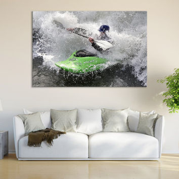 Water Sports Canoe Wall Fine Art Print / Boys Room Wall Decor Kayak Paddle Canoe Print Large Wall Art Decor / Lady Paddling Canvas Print