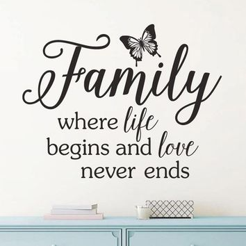 Family Where  Life Begins and True love never ends Love Wedding Gift Vinyl Wall decal