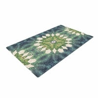 "Art Love Passion ""Forest Leaves Repeat"" Green Teal Geometric Woven Area Rug"