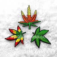 Embroidery Patches Rock Music Band Colorful Leaf  7*7.3cm Jamaica Bob Marley reggae Iron on